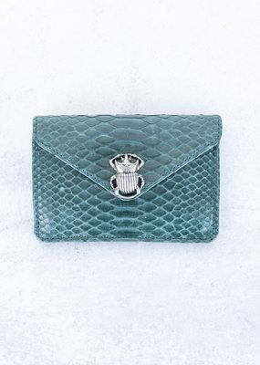Claris Virot Alex Python Card Holder-Green Blue