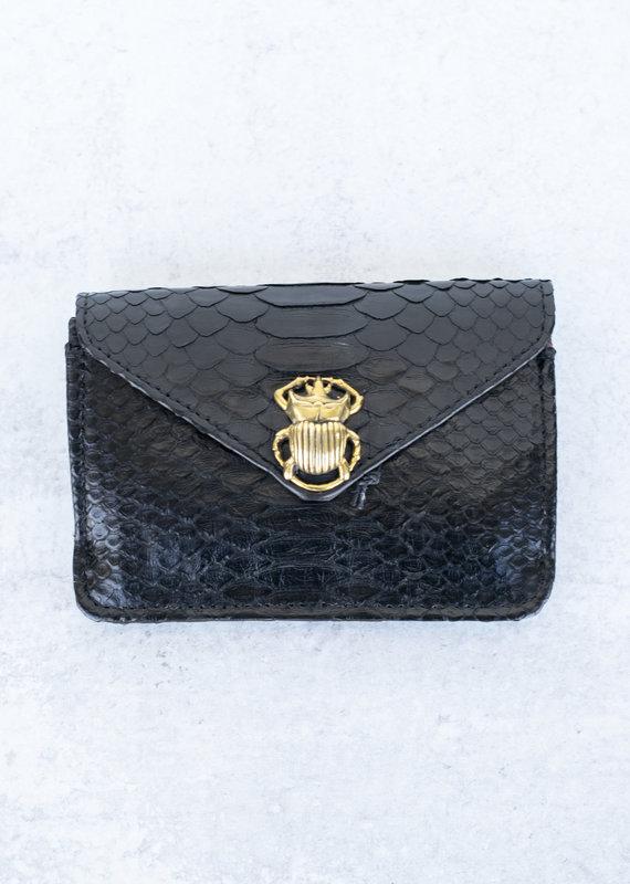 Claris Virot Alex Python Card Holder-Black