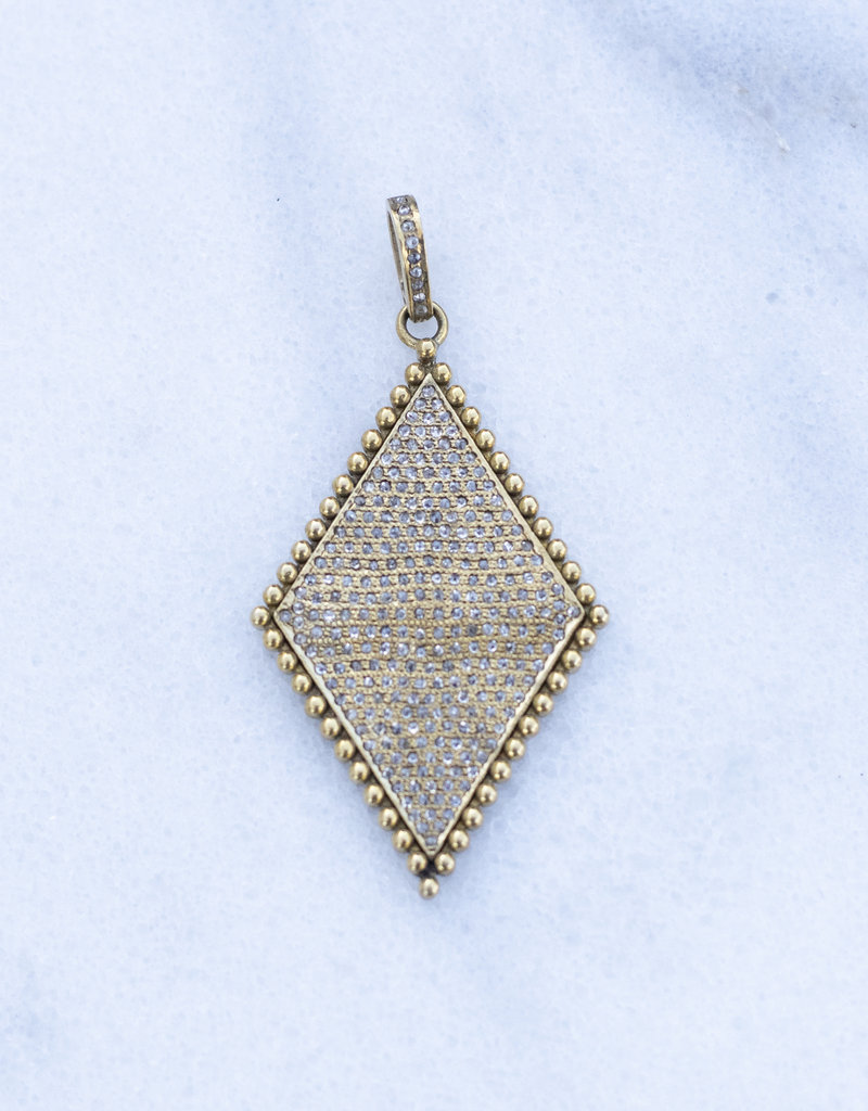 The Woods Fine Jewelry Diamond Brass and Pave Pendant