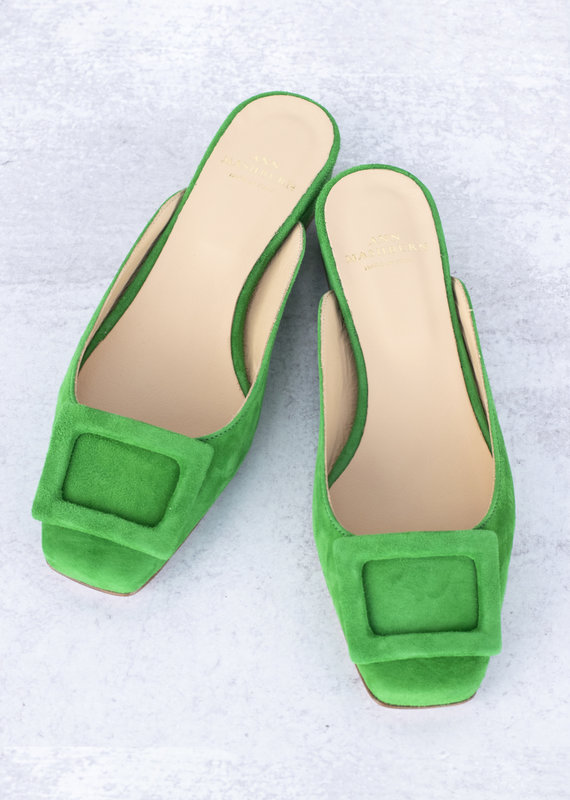 Ann Mashburn Buckle Shoe-Green Suede