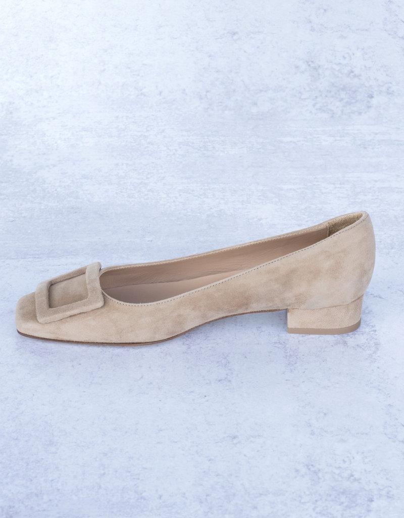 Ann Mashburn Buckle Shoe-Camel Suede