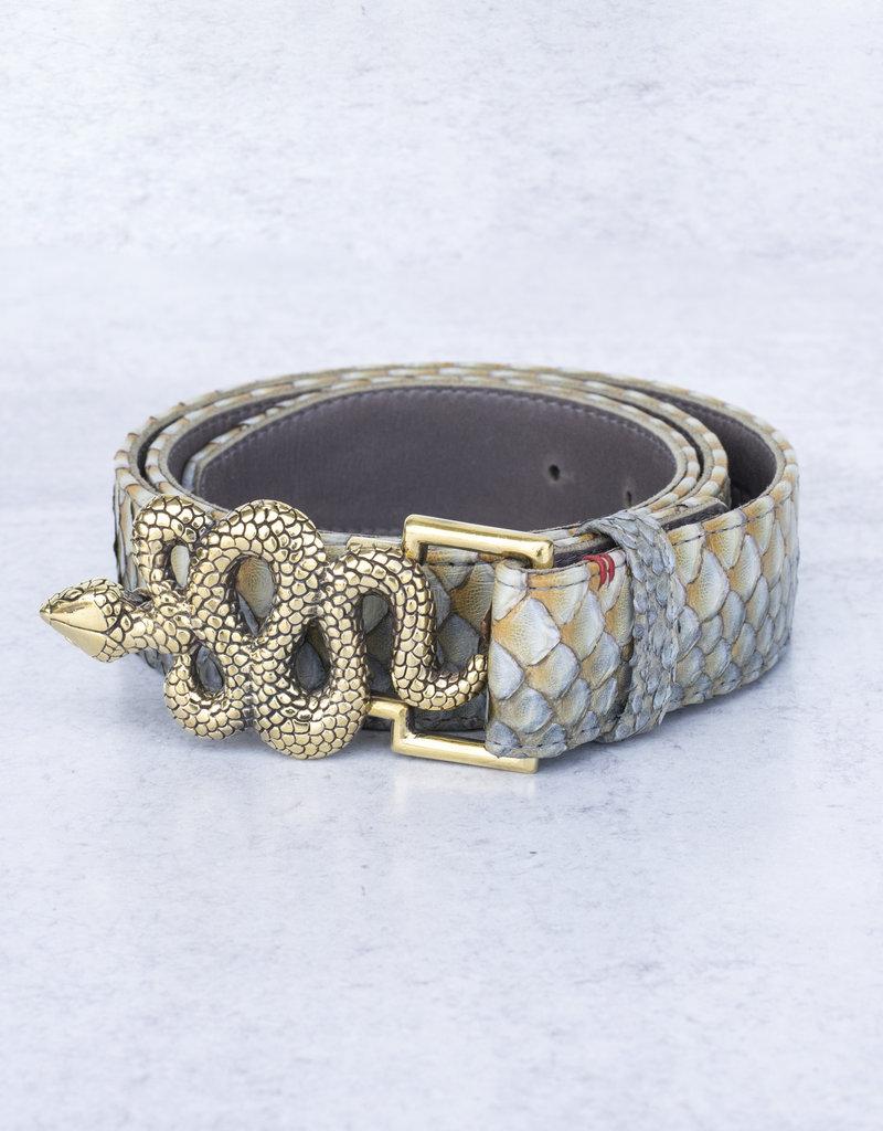 Claris Virot Greige Python Snake Belt