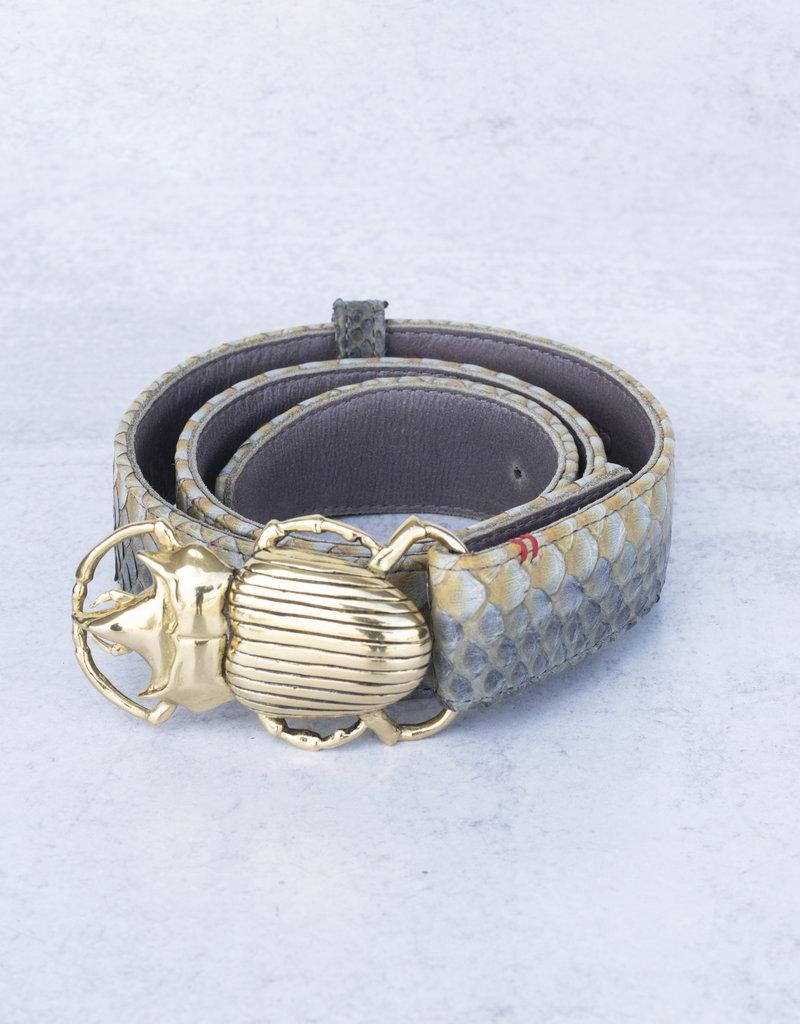 Claris Virot Greige Python Beetle Belt