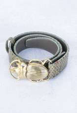 Claris Virot Kaki Python Beetle Belt