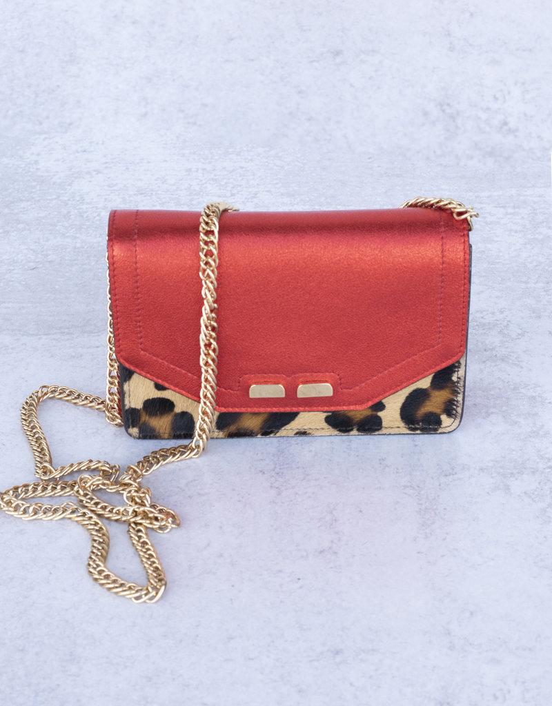 Bene Handbags The Samuel Stadium Bag-Leopard with Red