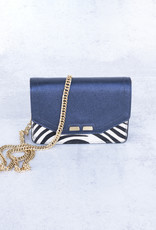 Bene Handbags The Samuel Stadium Bag-Blue and Zebra