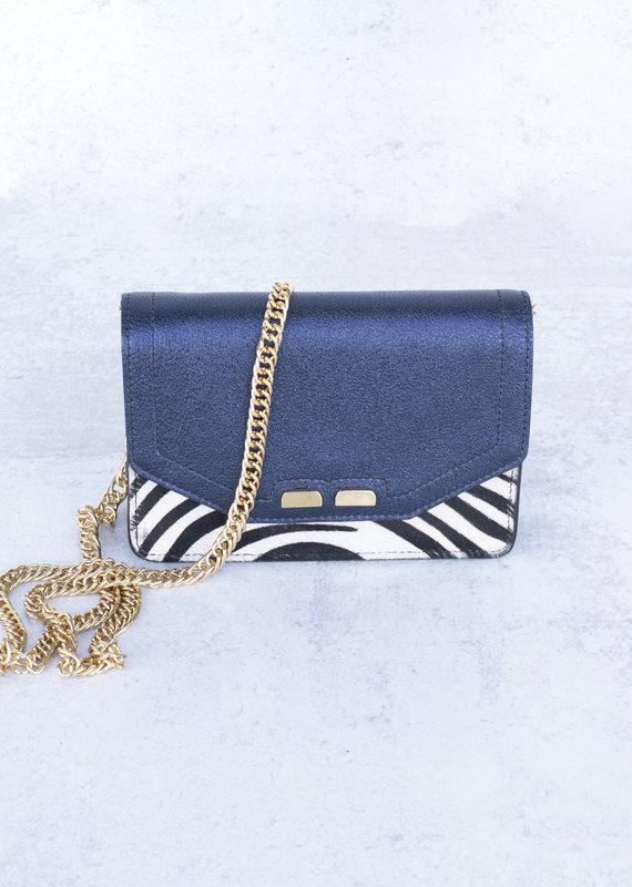 Bene Handbags The Samuel Stadium Bag-Blue and Zebra