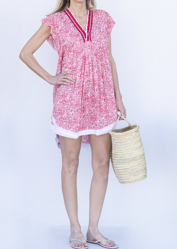 Poupette St. Barth Sasha Lace Mini Dress-Pink