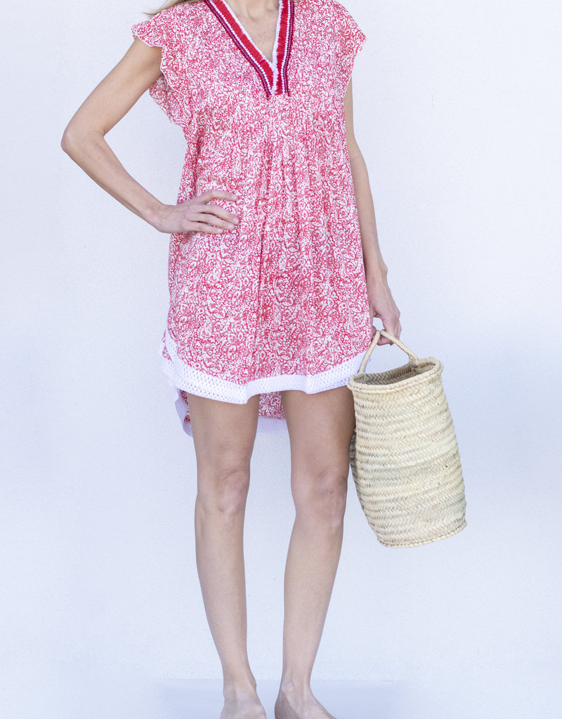 Poupette St. Barth Sasha Lace Mini Dress-Pink
