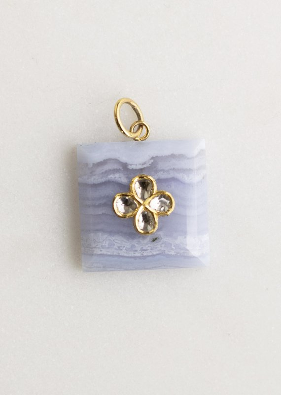 The Woods Fine Jewelry Rectangle Flower Pendant