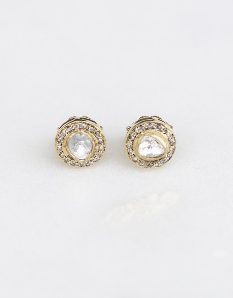 The Woods Fine Jewelry Small Brass and Pave Studs