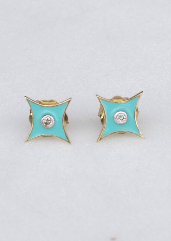 The Woods Fine Jewelry North Star Studs- Turquoise