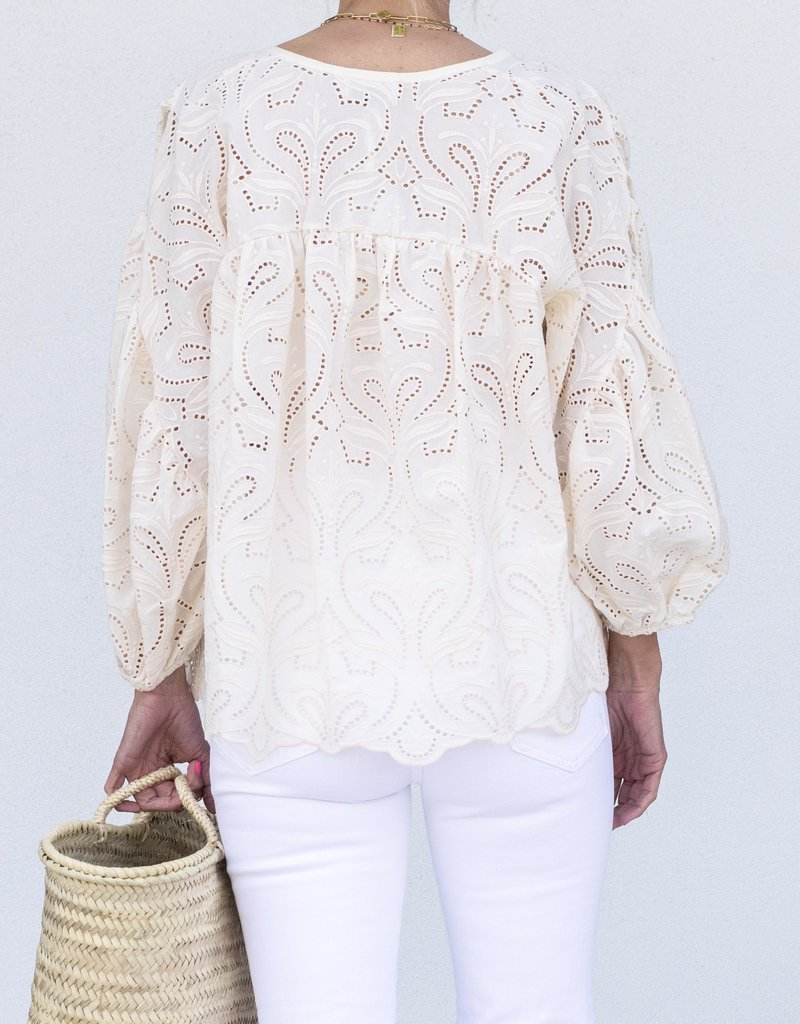 Ottod'ame Long Sleeve Lace Top-Cream