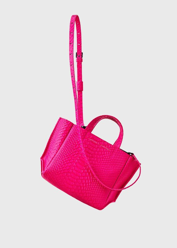 Ampersand As Apostrophe Micro Tote-Neon Pink Python