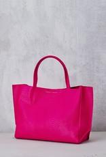 Ampersand As Apostrophe Sideways Tote-Neon Pink Python