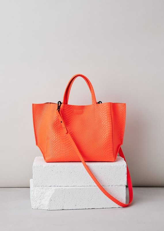 Ampersand As Apostrophe Half Tote-Neon Orange Python