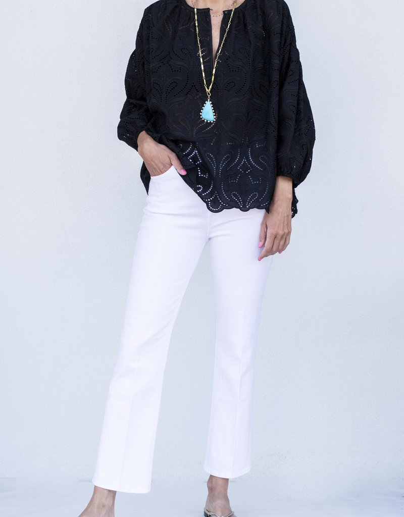 Ottod'ame Long Sleeve Lace Top-Black