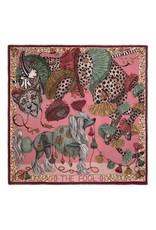 Sabina Savage 135x135 Large Silk Scarf-The Fool-Leopard with Dogs-Raspberry