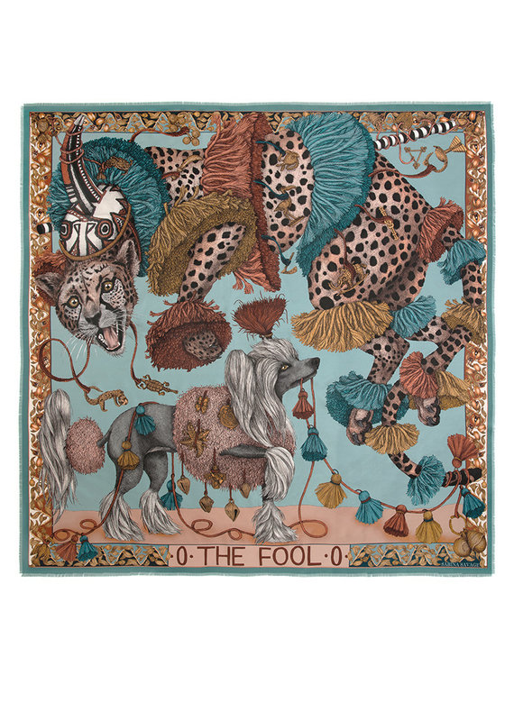 Sabina Savage 135x135 Large Silk Scarf-The Fool-Leopard with Dogs-Green