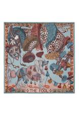 Sabina Savage 135x135 Large Wool Silk Scarf-The Fool-Leopard with Dogs-Green