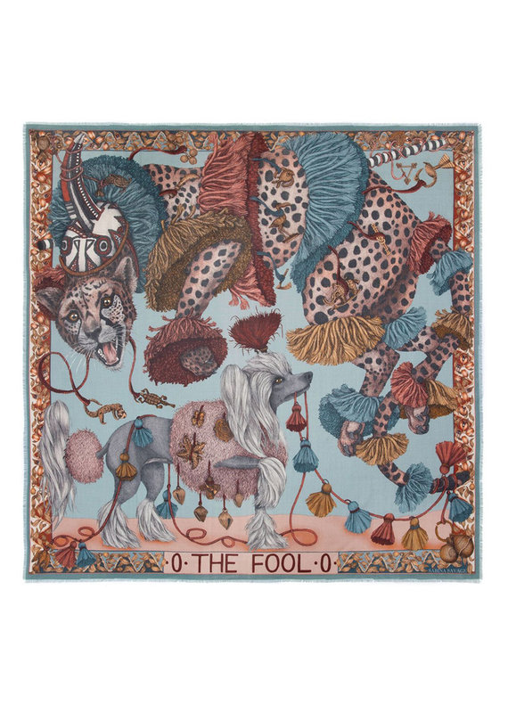 Sabina Savage 135x135 Large Wool Silk Scarf-The Fool-Leopard with Dogs-Green