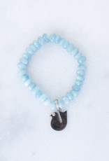 The Woods Fine Jewelry Aquamarine Beaded Bracelet with Bird Charm