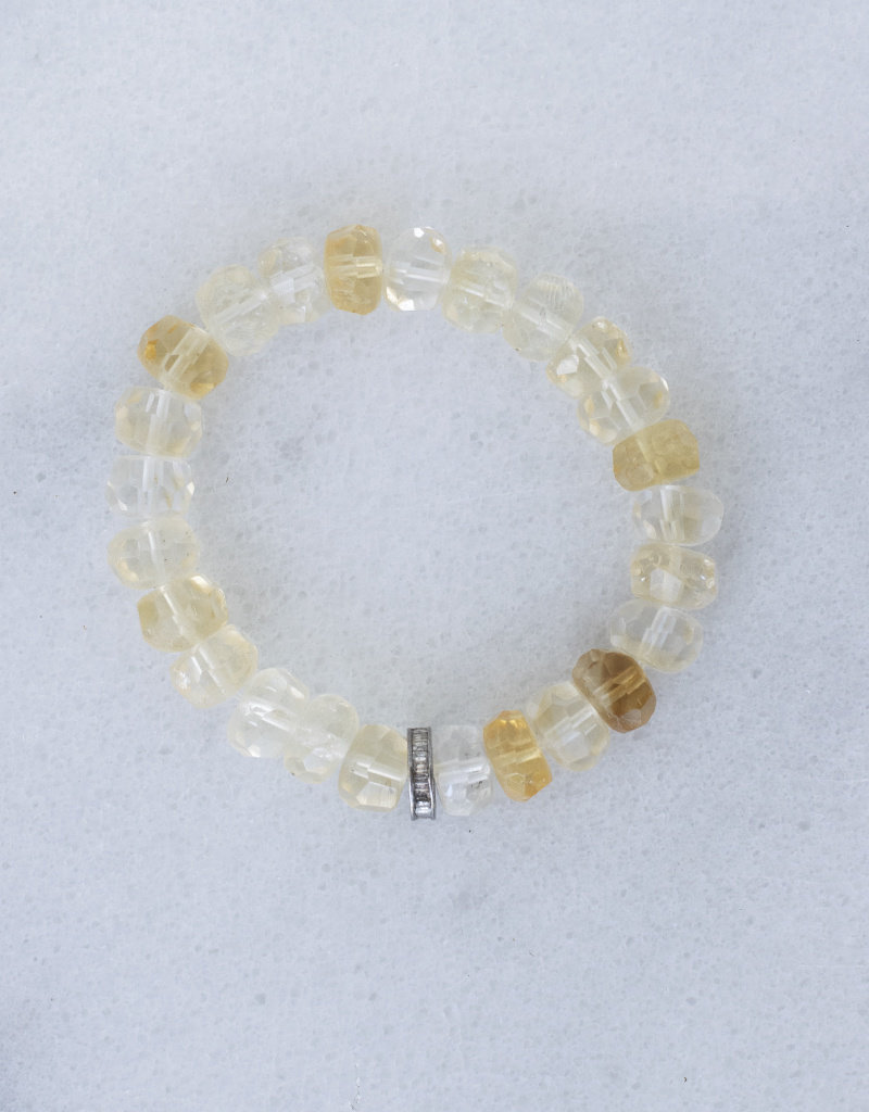 The Woods Fine Jewelry Citrine Bracelet with pave disc bead