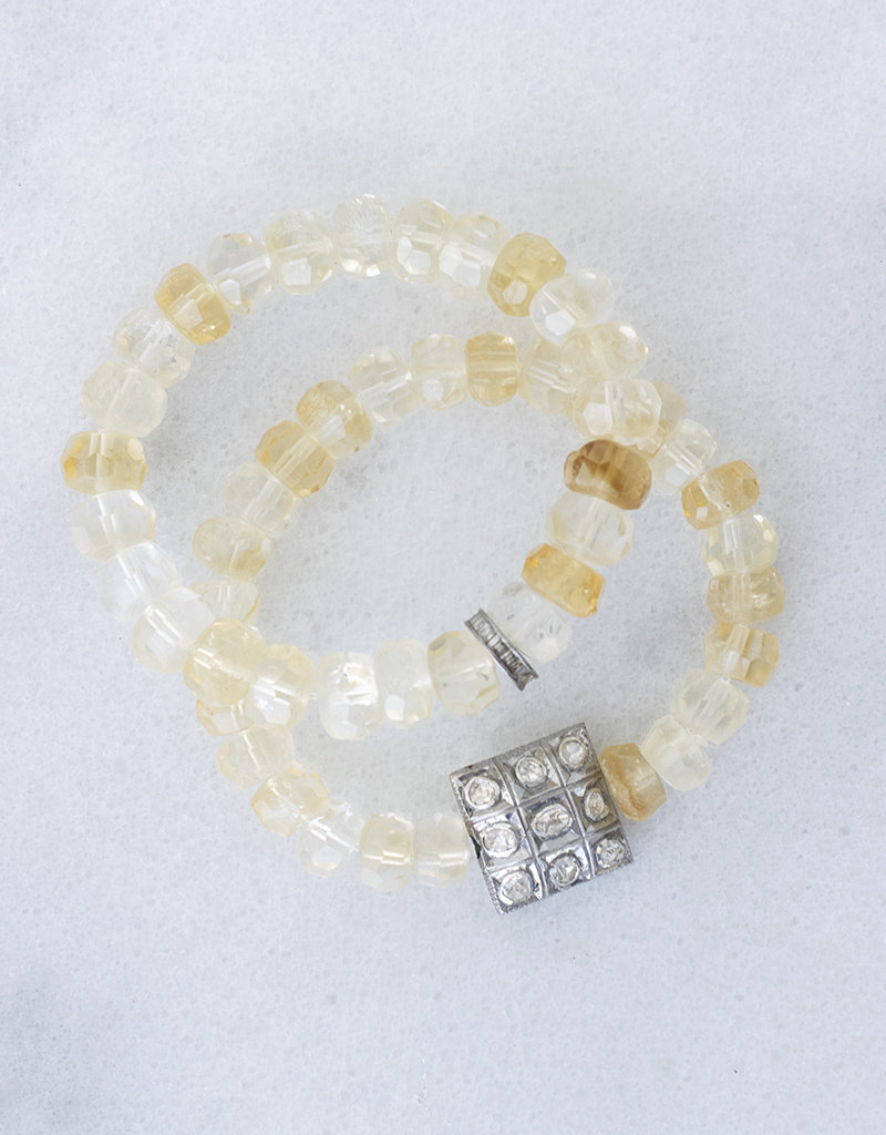 The Woods Fine Jewelry Citrine Bracelet with Pave Bead