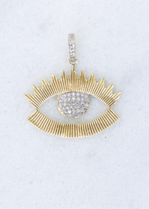 The Woods Fine Jewelry Gold and Pave Evil Eye Pendant