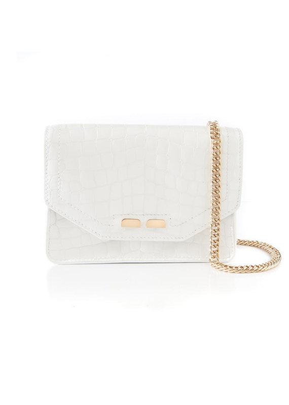 Bene Handbags The Samuel Stadium Bag-White Alligator Stamp
