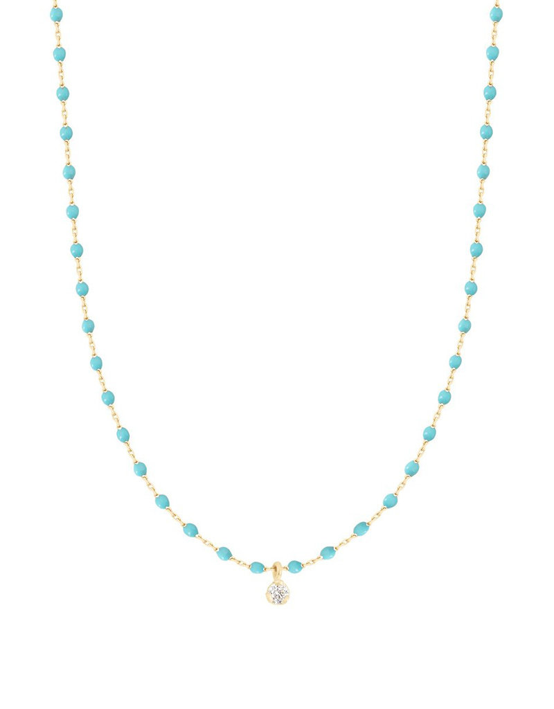 Gigi Clozeau Mini Gigi Necklace 1 diamond Turquoise Green
