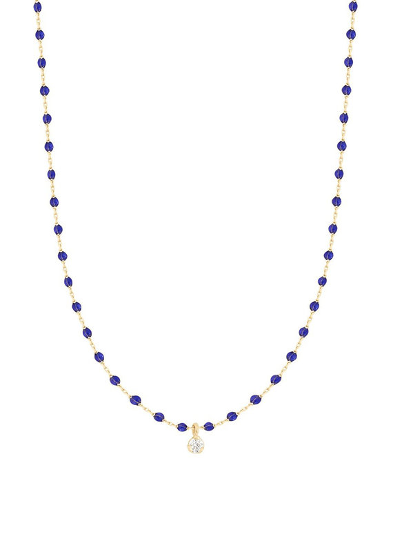 Gigi Clozeau Mini Gigi Necklace with 1 Diamond- Lapis