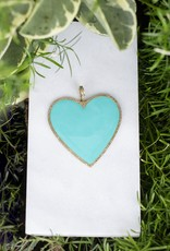 The Woods Fine Jewelry Big Heart Pendant- Turquoise