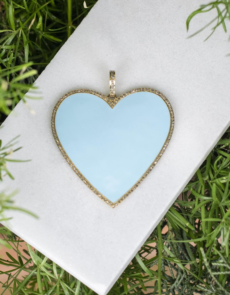 The Woods Fine Jewelry Big Heart Pendant - Baby Blue