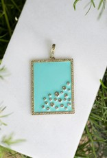 The Woods Fine Jewelry Dog Tag Pendant- Turquoise