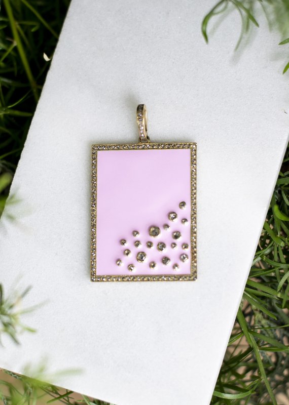 The Woods Fine Jewelry Dog Tag Pendant- Pink