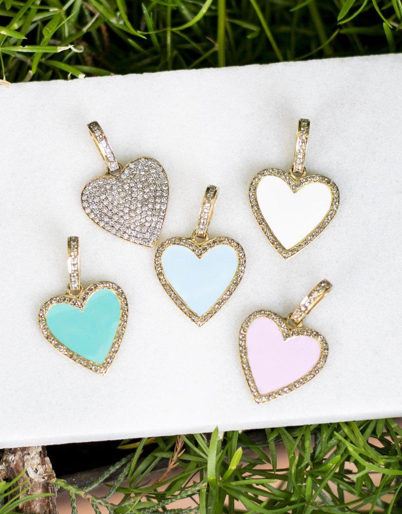 The Woods Fine Jewelry Mini Heart Pendant- Baby Blue