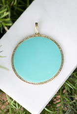 The Woods Fine Jewelry Large Disc Pendant- Turquoise