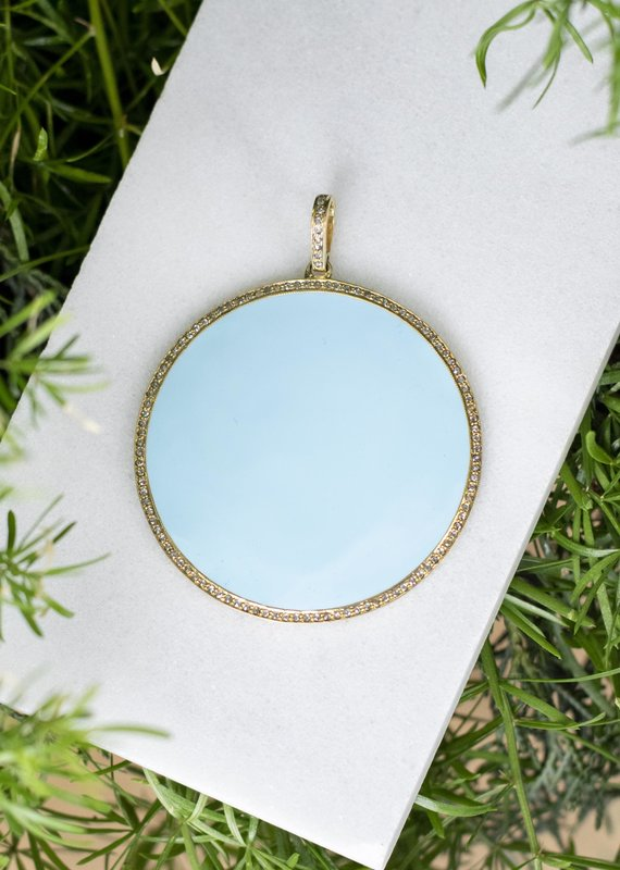 The Woods Fine Jewelry Large Disc Pendant- Baby Blue
