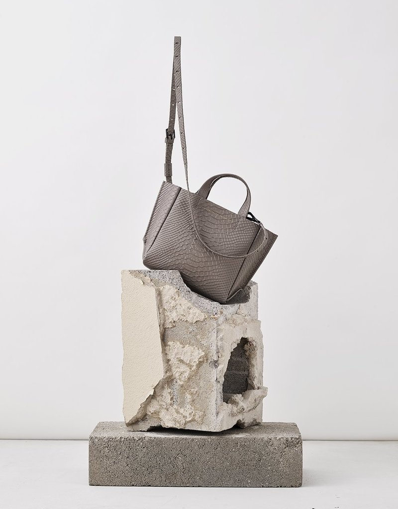 Ampersand As Apostrophe Micro Tote-Taupe Python