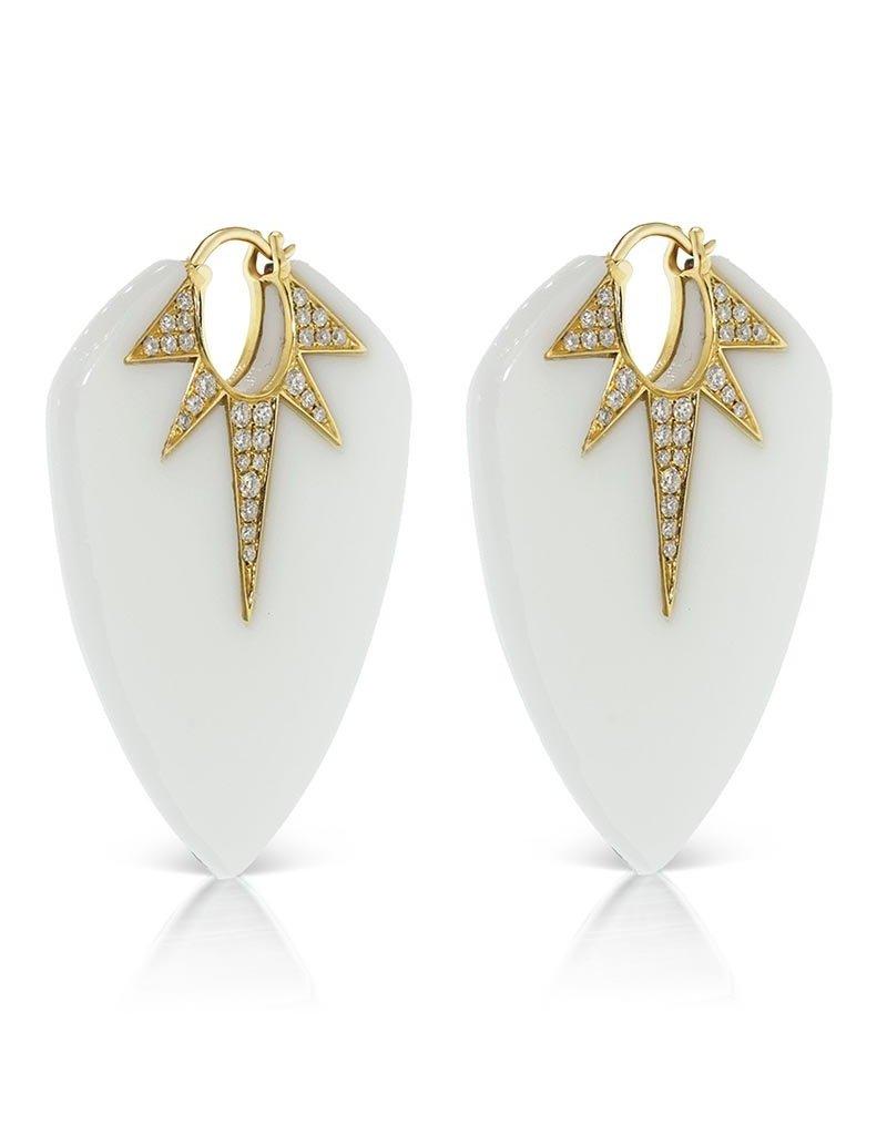 Sorellina White Onyx Guitar Pic Earrings - XL