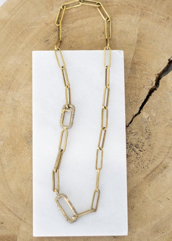 The Woods Fine Jewelry Long Link Necklace - Double Pave Clasp