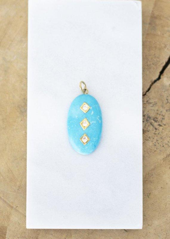 The Woods Fine Jewelry Turquoise Triple Diamond Pendant