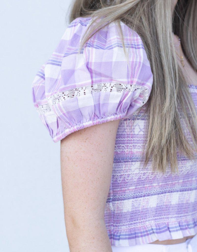 Love Shack Fancy Hersh Crop Top-Lilac