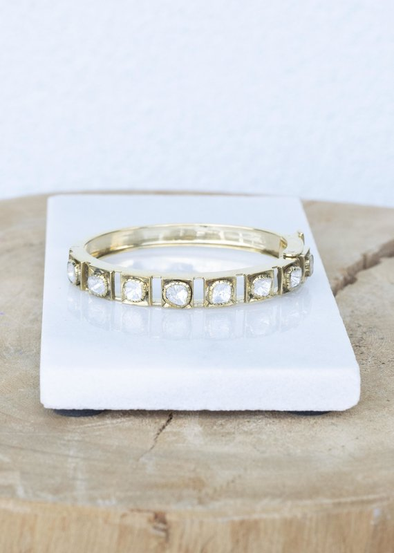 The Woods Fine Jewelry Brass Bangle with large Rose Cut Diamonds