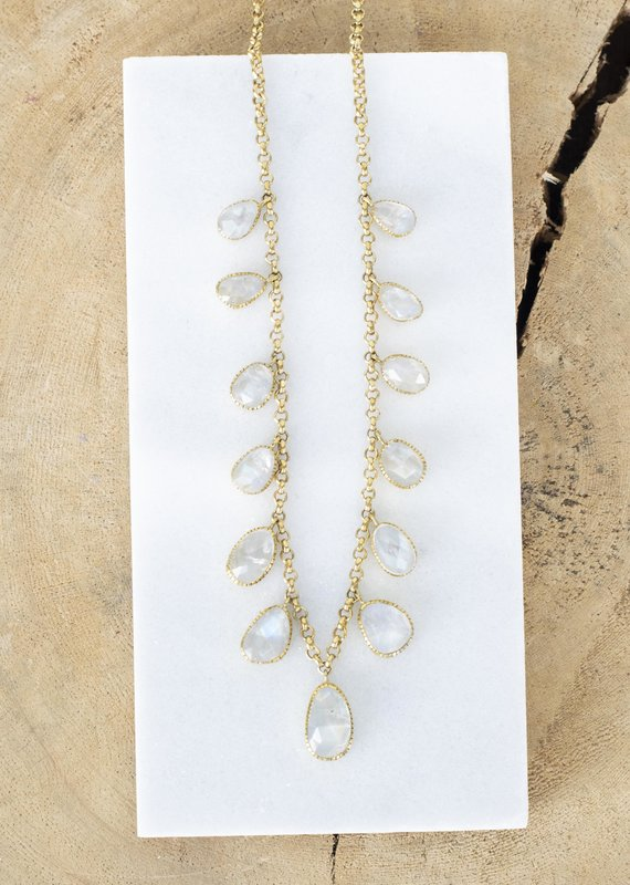 The Woods Fine Jewelry Moonstone Drop Necklace