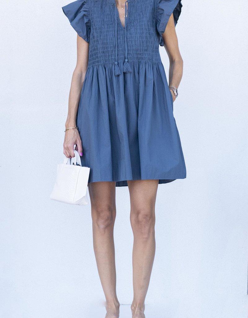 Sea NYC Rene Smocked Dress-Slate