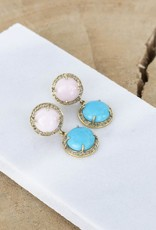 The Woods Fine Jewelry Pink Opal and Turquoise Earrings