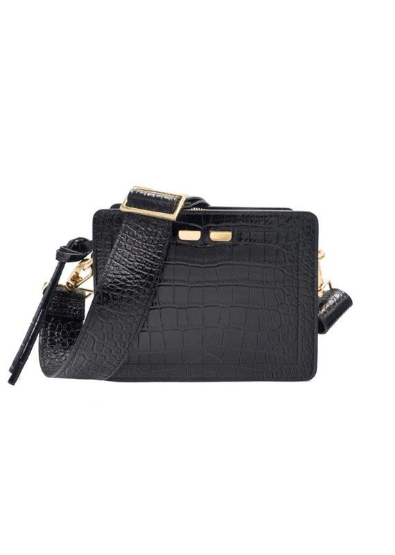 Bene Handbags The Fairfax-Black Gator