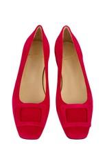 Ann Mashburn Buckle Shoe-Red Suede